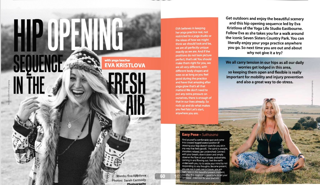 Hip opening class in the YOGA Magazine